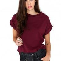 Missguided - Olive Oversize Tee In Burgundy