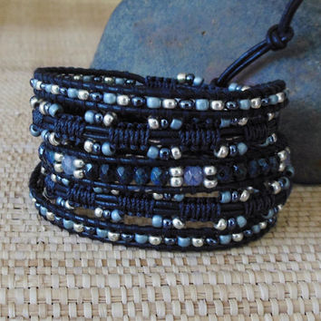 Beaded Leather Wrap Bracelet with Macrame: Black, Blue-Gray, Silver Mix/Seed Beads/Crystals/Bollywood Style/Boho Chic/Gift for Her/OOAK