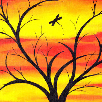 Abstract Tree Painting with Sunset Background a...