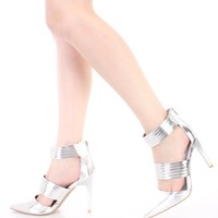 Silver Strappy Single Sole Heels Metallic Faux Leather
