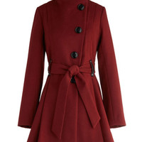 Steve Madden Long Long Sleeve Winterberry Tart Coat in Burgundy