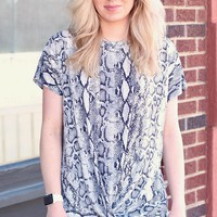 Grey Get Twisted Snake Print Top