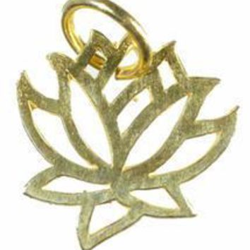 Gold Vermeil Hand Cut Lotus Flower Pendant