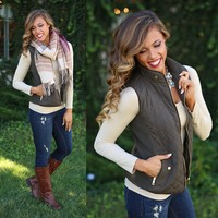 Fall In Love Puffer Vest in Olive
