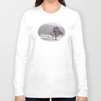Old pear tree on a wintery meadow Long Sleeve T-shirt by Pirmin Nohr