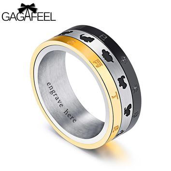 GAGAFEREL Men Ring Carve Engrave Zodiac Turn Three layers Rings Punk Luxury Diy Logo Stainless Steel Jewelry Gift For Party