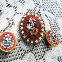 Micro Mosaic Pin and Earrings Red Italian Glass Vintage Brooch Set