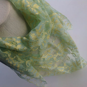 Mint Green lace scarf, Yellow Floral scarf, Christmas Gift, lace bandana, sparkle neck wear, Holiday gift for mom, Festive Fashion scarf