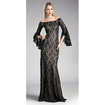 Off-the Shoulder Long Formal Dress Bell Sleeves Black
