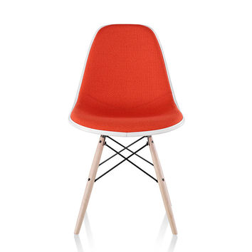 Herman Miller Eames® Molded Plastic Side Chair Dowel Base with Upholstered Shell
