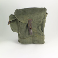 Vintage Military Green Canvas Bullet Bag, Pouch Bag, Ammunition Bag, Men's Waist Canvas Tool Bag, Multi-Pockets Organizer