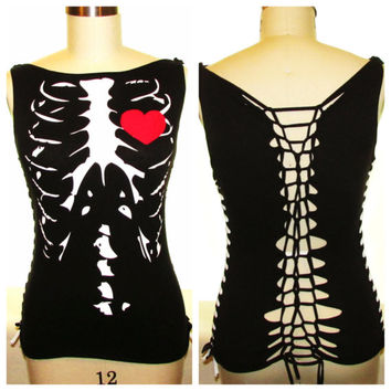 Skeleton // Halloween Altered T-shirt // Cut Up Shirt // Refashioned Clothing // Cut Tank Top //  Upcycled Clothing // Size Large