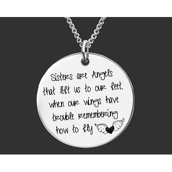 Sister Are Angels Necklace   Sister Gift