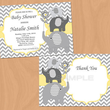 Boy Baby Shower Invitations Boy Elephant Baby Shower Invitation Yellow - FREE Thank You card (87)
