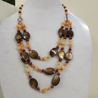 Long multistrand statement necklace Brown bronze peach Semiprecious aventurine MOP Chunky layered natural luxurious OOAK unique gift for her