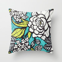 Vera Bradley - Turquoise Floral Throw Pillow by PinkBerryPatterns
