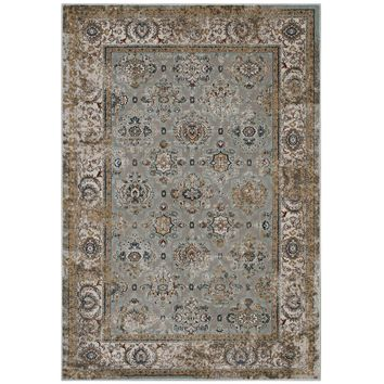 Hisa Distressed Vintage Floral Lattice 5x8 Area Rug