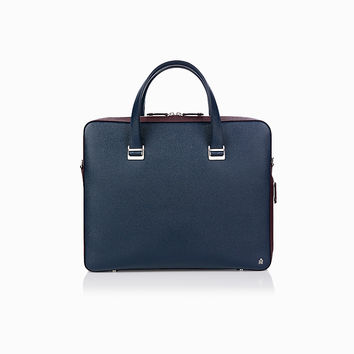 Bourdon Navy/Burgundy Single Zip Briefcase | dunhill - Official Website