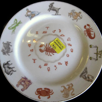 "Westmoreland Milk Glass Zodiac 6"" Plate for Astrological Sign Scorpio"