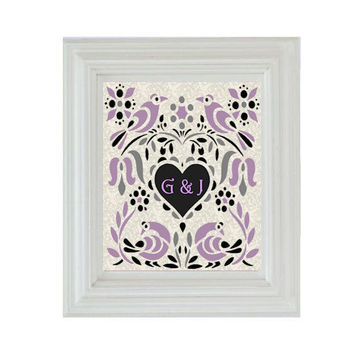 Custom Monogram Lavender and Gray Print in Modern Design Fashion with Love Birds 8 x 10