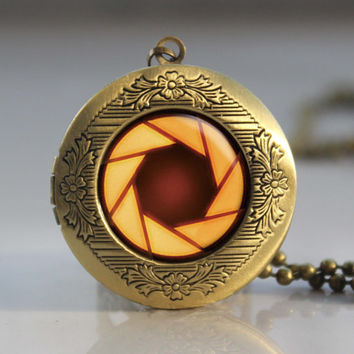 portal valve glados aperture science vintage pendant locket necklace - ready for gifting