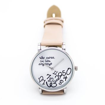 Who cares, I'm late anyways watch (5 colors)