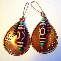 """African Vibe Earrings for Women, Drop: 4 1/4"""", Gift for Her, Handmade Jewelry on Etsy, Unique Gifts, Birthdays, OOAK, Dzi Beads, Copper"""
