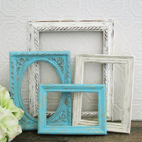 Ornate Picture Frames With Glass Tiffany Blue And Antique White Shabby Chic Wall Decor