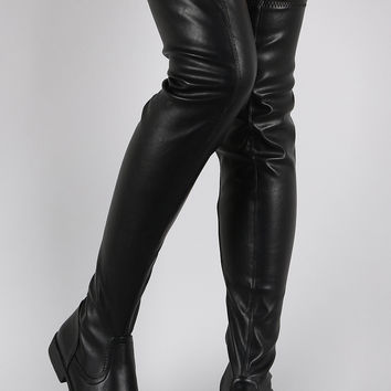 Bamboo Vegan Leather Flat Thigh High from URBANOG