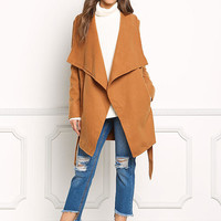 Camel Fold Over Cinched Trench Coat