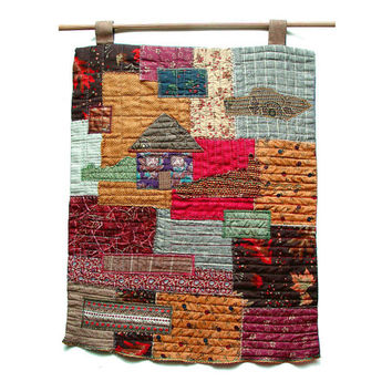 Little house on the prairie, Original Folk Art Quilt, Textile Wall Art, Wall Hanging, Contemporary Quilt, Rustic Cottage, burgundy tan brown