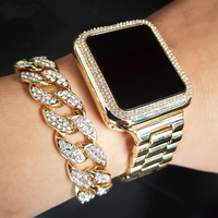 ICED OUT DIGITAL TOUCH SCREEN WATCH & CUBAN BRACELET SET