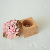 Pink Succulent Ring Box Wholesale Wood Square Engagement Marriage Offer Ring Holder Ring Case Wedding Bridal Christmas Gift Home Decor