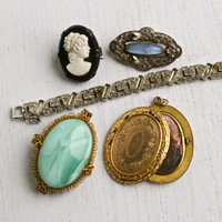 Antique Edwardian & Art Deco Jewelry Repair Lot - 6 Early 1900s Broken Peices - Vintage Locket, Brooch Pins, Bracelet / Old Jewels Destash