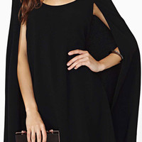 ROMWE Asymmetric Black Sheer Cape Dress