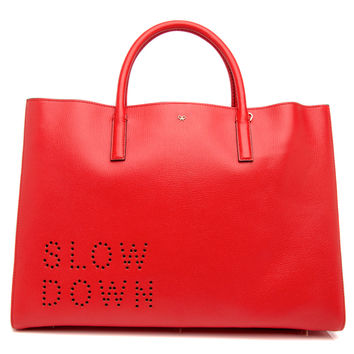 Anya Hindmarch Flame Red Slow Down Ebury Maxi Featherweight Tote