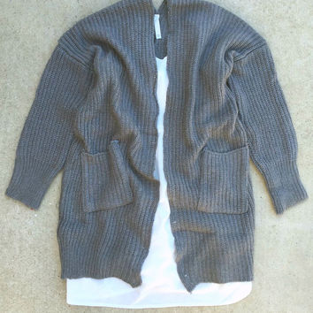 Oversized Sweater Cardigan in Charcoal