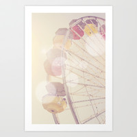 Pink Ferris Wheel Santa Monica Pier Bokeh Love Art Print by SoCalPhotography