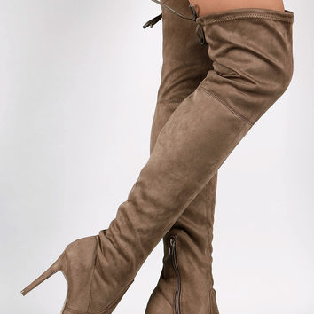 Wild Diva Lounge Suede Over-The-Knee Stiletto Boots