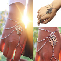 Lucky Hand of Fatima Tassel Chain Bracelet Evil Eye
