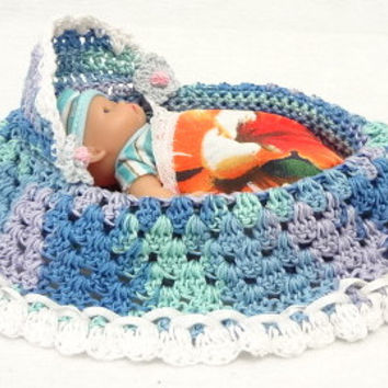 handmade crochet cradle purse travel toy church purse oceans color drawstring bag BG#87