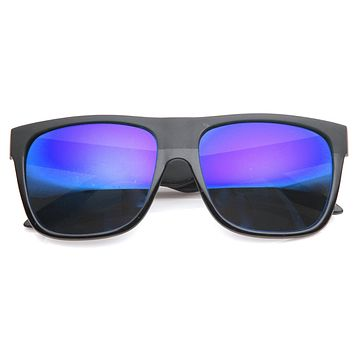 Skater Action Sports Horned Rim Flash Mirror Lens Sunglasses 9154