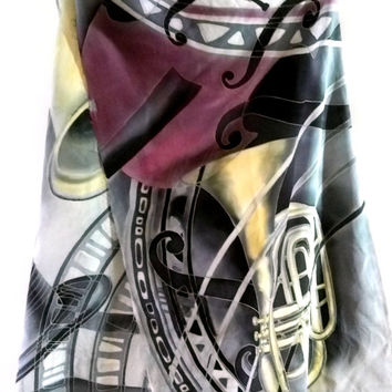 Hand painted silk scarf Jazz scarf Luxury silk Uniqie scarves Handpainted silk shawl Birthday gifts f her Musical instruments wearable art