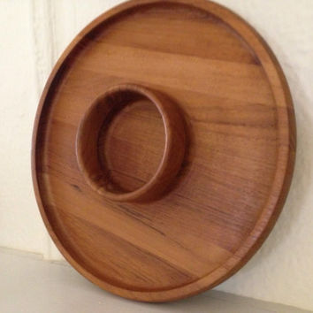Mid Century Modern Dansk Designs Denmark Round Serving Chip and Dip Board or Serving Tray