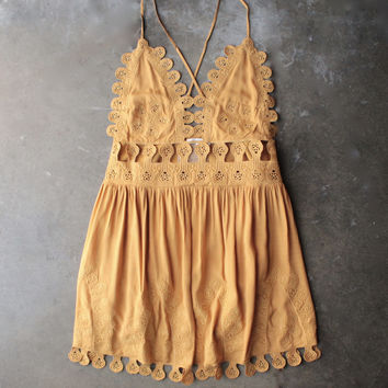 summer lace mini dress - chloe yellow