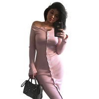 New Autumn Dress Women Long Sleeve Off Shoulder Casual Maxi Knitted Sweater Dress Winter Sexy Club Bodycon Bandage Party Dresses