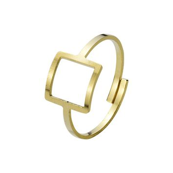 Modern Dainty Adjustable Bague Femme Jewelry Fashion Stainless Steel Gold Color Open Square Rings For Women Men Party Anillos