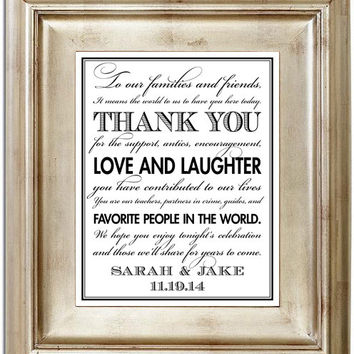 To Our Families and Friends It Means the World to Us Thank You Wedding Sign - 8x10 Wedding Sign Customized Personalized