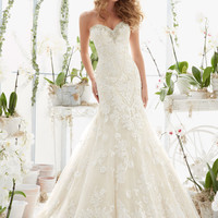 Crystal Moonstone Beading on Tulle Wedding Dress | Style 2817 | Morilee
