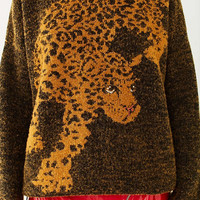UO Leopard Crew-Neck Sweater | Urban Outfitters